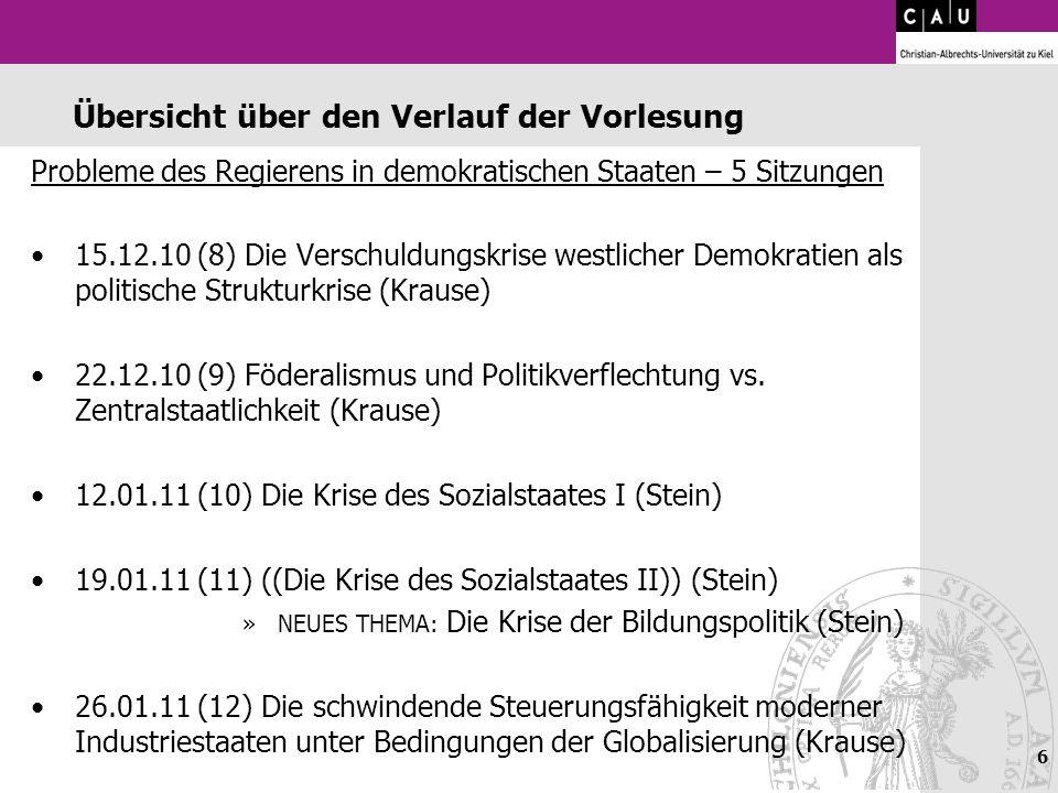 6 Übersicht über den Verlauf der Vorlesung Probleme des Regierens in demokratischen Staaten – 5 Sitzungen 15.12.10 (8) Die Verschuldungskrise westlich