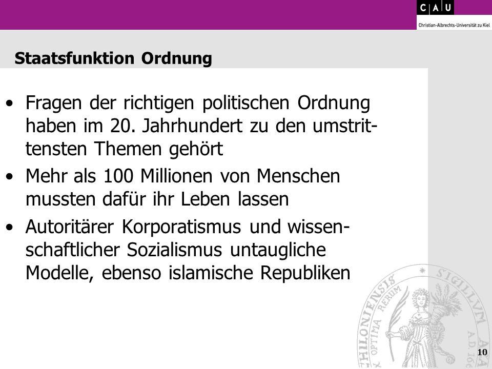 10 Staatsfunktion Ordnung Fragen der richtigen politischen Ordnung haben im 20. Jahrhundert zu den umstrit- tensten Themen gehört Mehr als 100 Million