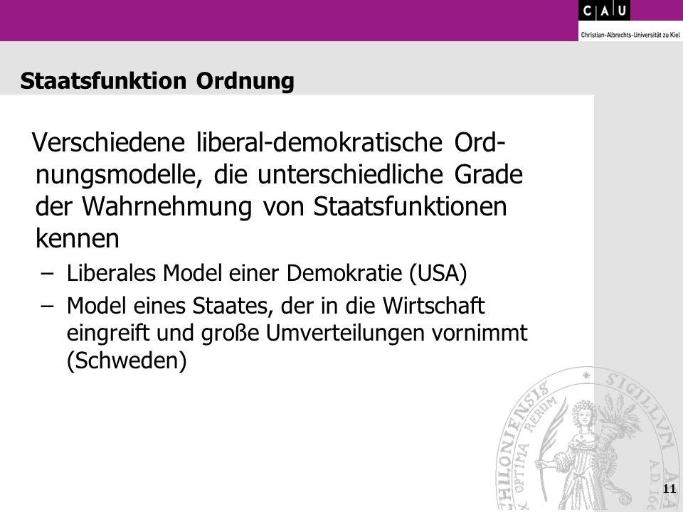 11 Staatsfunktion Ordnung Verschiedene liberal-demokratische Ord- nungsmodelle, die unterschiedliche Grade der Wahrnehmung von Staatsfunktionen kennen