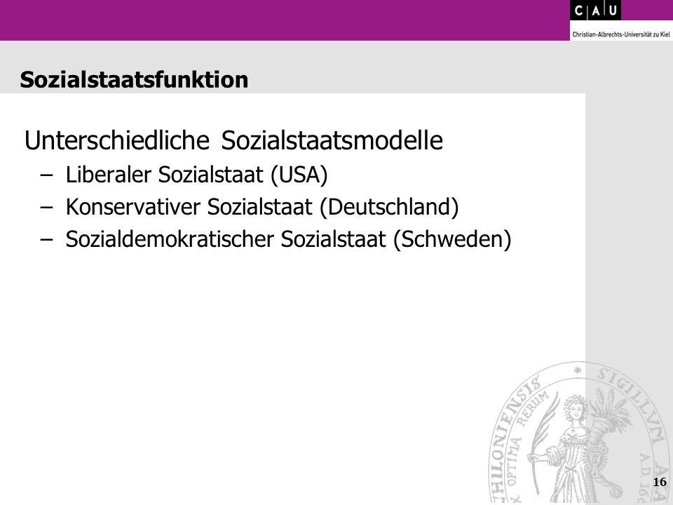 16 Sozialstaatsfunktion Unterschiedliche Sozialstaatsmodelle –Liberaler Sozialstaat (USA) –Konservativer Sozialstaat (Deutschland) –Sozialdemokratisch