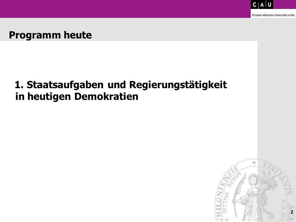 2 Programm heute 1. Staatsaufgaben und Regierungstätigkeit in heutigen Demokratien