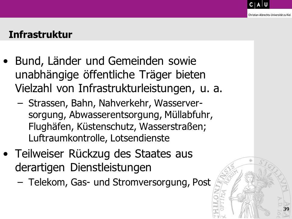 39 Infrastruktur Bund, Länder und Gemeinden sowie unabhängige öffentliche Träger bieten Vielzahl von Infrastrukturleistungen, u. a. –Strassen, Bahn, N