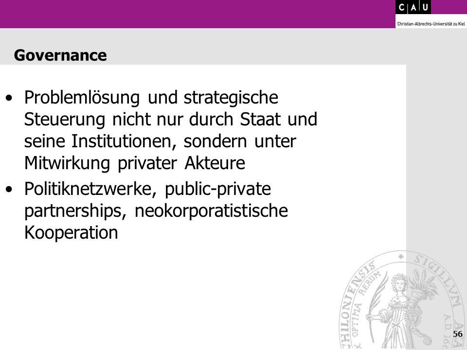 56 Governance Problemlösung und strategische Steuerung nicht nur durch Staat und seine Institutionen, sondern unter Mitwirkung privater Akteure Politi