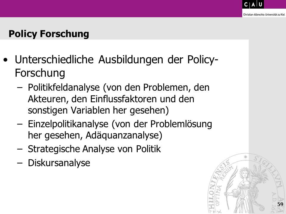 59 Policy Forschung Unterschiedliche Ausbildungen der Policy- Forschung –Politikfeldanalyse (von den Problemen, den Akteuren, den Einflussfaktoren und
