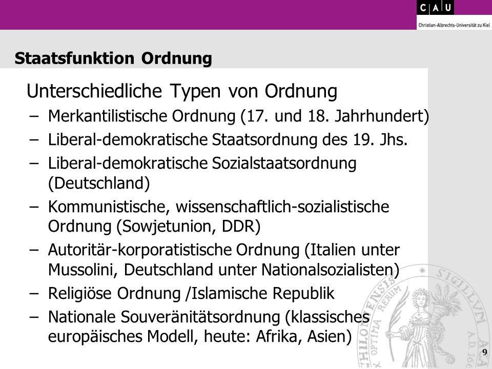 9 Staatsfunktion Ordnung Unterschiedliche Typen von Ordnung –Merkantilistische Ordnung (17. und 18. Jahrhundert) –Liberal-demokratische Staatsordnung