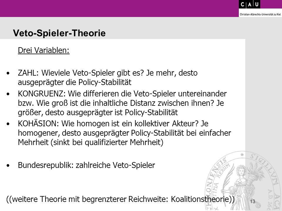 13 Veto-Spieler-Theorie Drei Variablen: ZAHL: Wieviele Veto-Spieler gibt es? Je mehr, desto ausgeprägter die Policy-Stabilität KONGRUENZ: Wie differie
