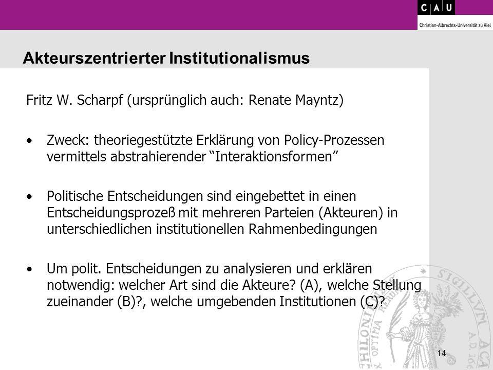14 Akteurszentrierter Institutionalismus Fritz W. Scharpf (ursprünglich auch: Renate Mayntz) Zweck: theoriegestützte Erklärung von Policy-Prozessen ve