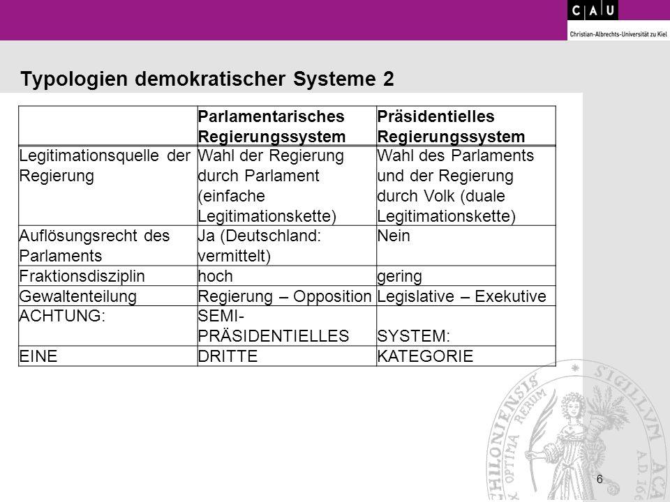 6 Parlamentarisches Regierungssystem Präsidentielles Regierungssystem Primäres Merkmal Abberufbarkeit der Regierung durch das Parlament (aus politisch