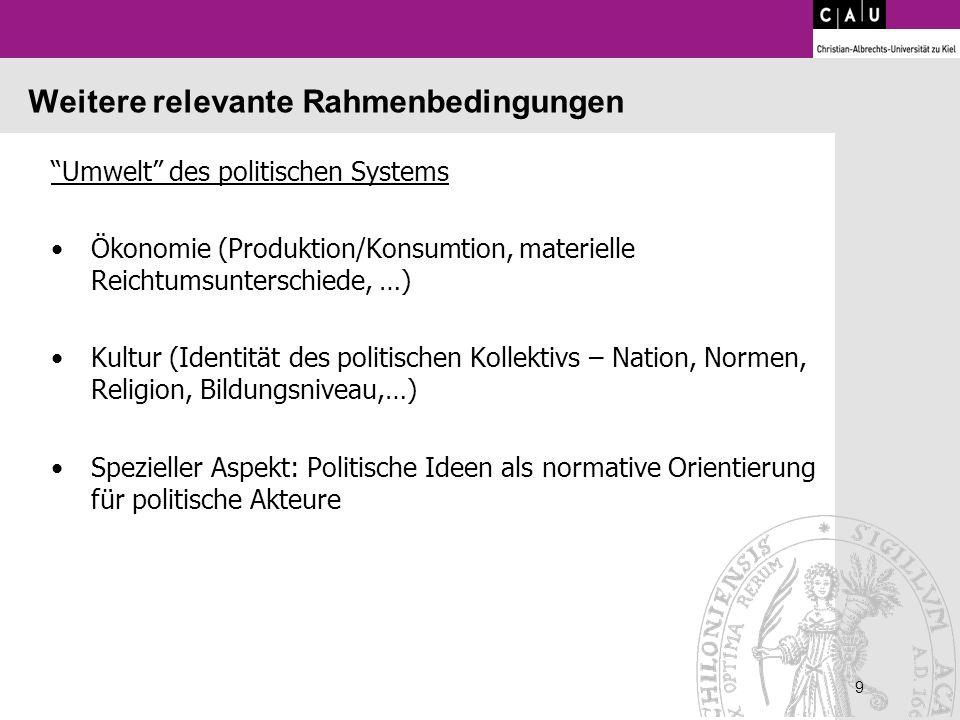 9 9 Weitere relevante Rahmenbedingungen Umwelt des politischen Systems Ökonomie (Produktion/Konsumtion, materielle Reichtumsunterschiede, …) Kultur (I