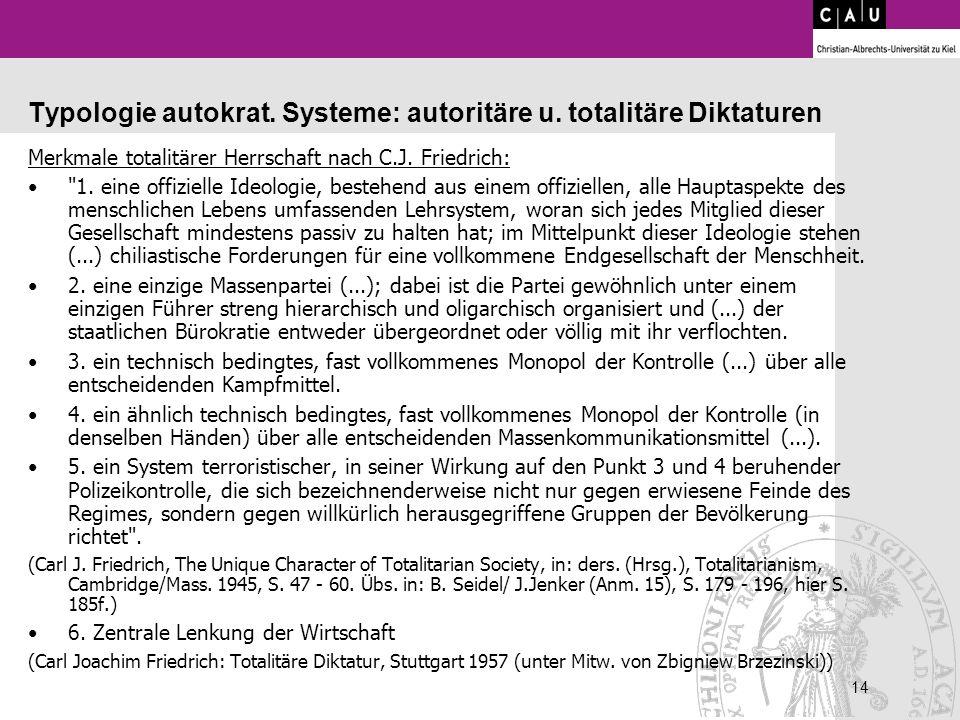 14 Typologie autokrat. Systeme: autoritäre u. totalitäre Diktaturen Merkmale totalitärer Herrschaft nach C.J. Friedrich: