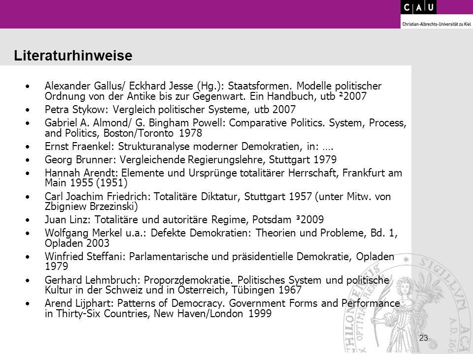 23 Literaturhinweise Alexander Gallus/ Eckhard Jesse (Hg.): Staatsformen. Modelle politischer Ordnung von der Antike bis zur Gegenwart. Ein Handbuch,