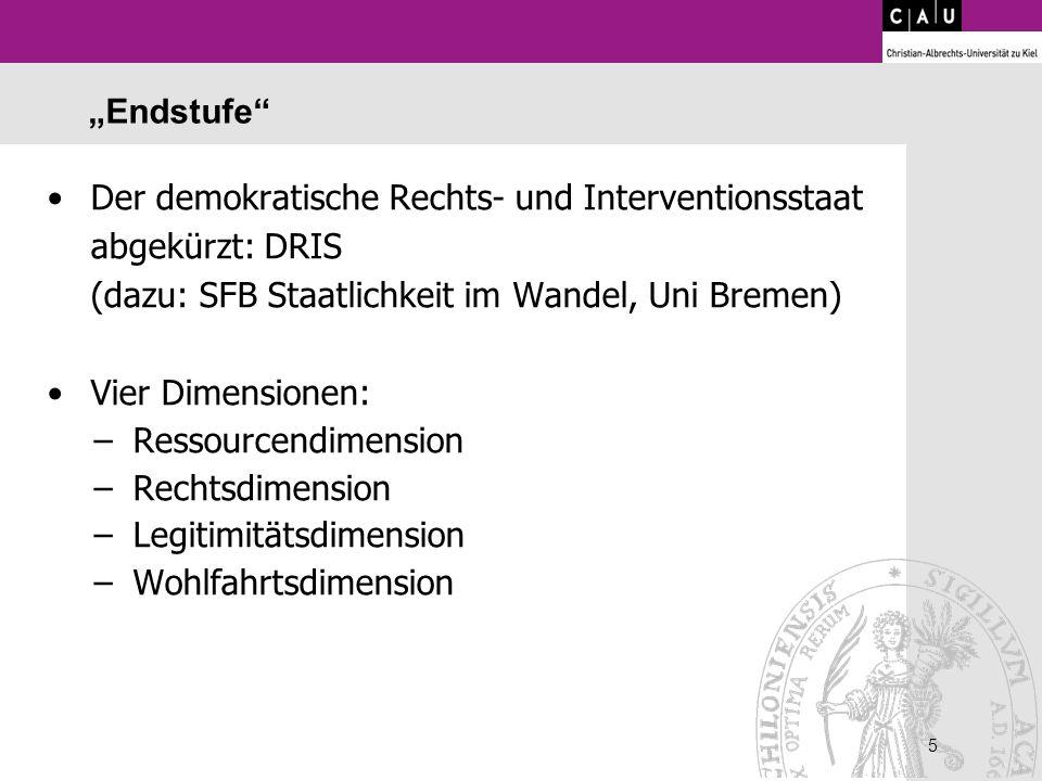 5 5 Endstufe Der demokratische Rechts- und Interventionsstaat abgekürzt: DRIS (dazu: SFB Staatlichkeit im Wandel, Uni Bremen) Vier Dimensionen: –Resso
