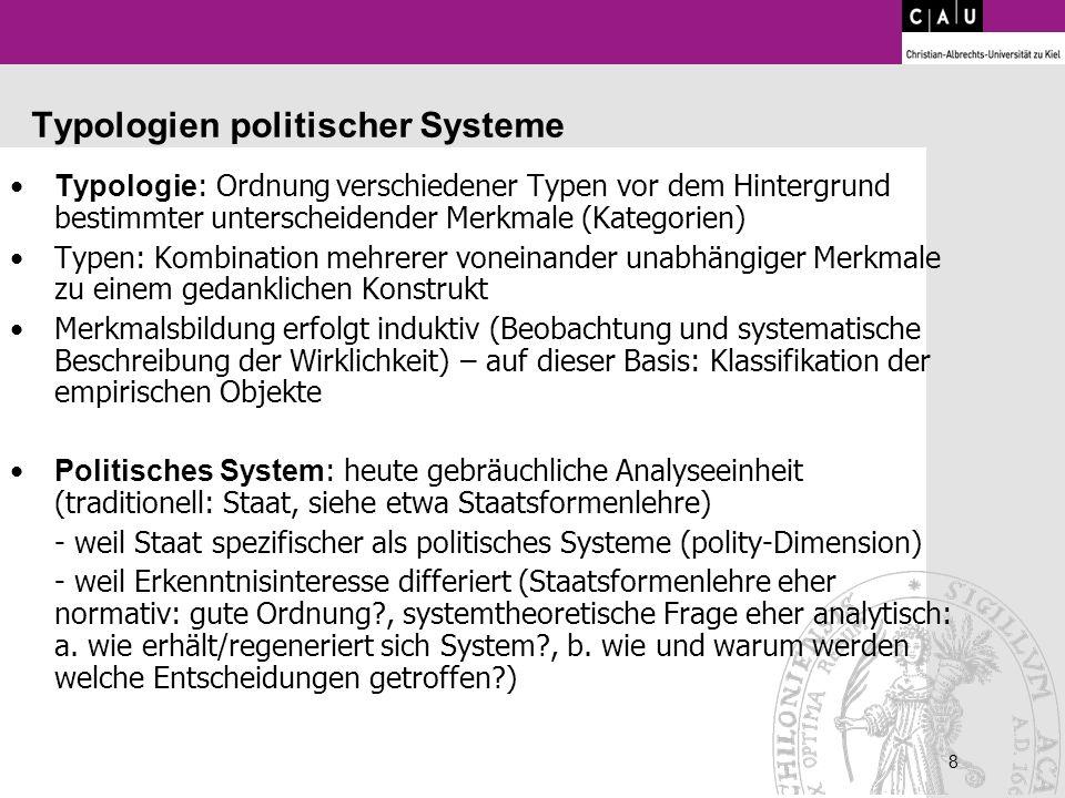 8 8 Typologien politischer Systeme Typologie : Ordnung verschiedener Typen vor dem Hintergrund bestimmter unterscheidender Merkmale (Kategorien) Typen