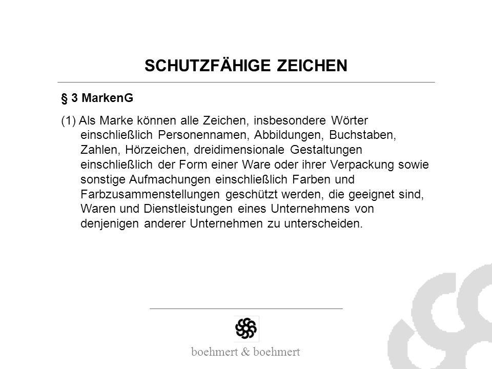 boehmert & boehmert SCHUTZFÄHIGE ZEICHEN § 3 MarkenG (1) Als Marke können alle Zeichen, insbesondere Wörter einschließlich Personennamen, Abbildungen,