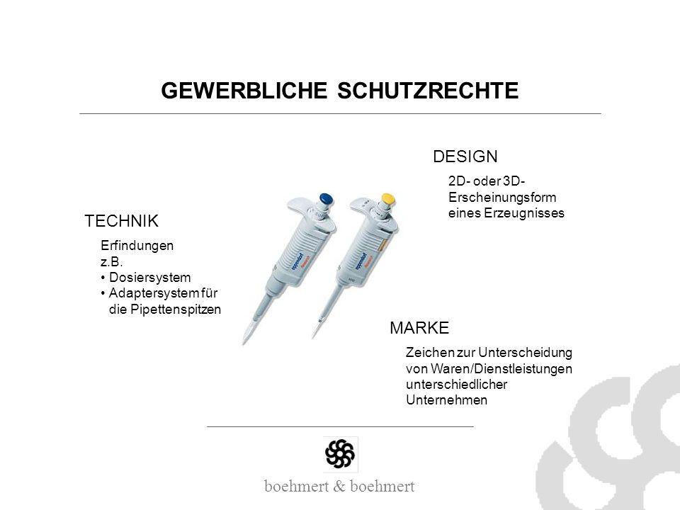 boehmert & boehmert GEWERBLICHE SCHUTZRECHTE DESIGN MARKE TECHNIK Erfindungen z.B. Dosiersystem Adaptersystem für die Pipettenspitzen 2D- oder 3D- Ers