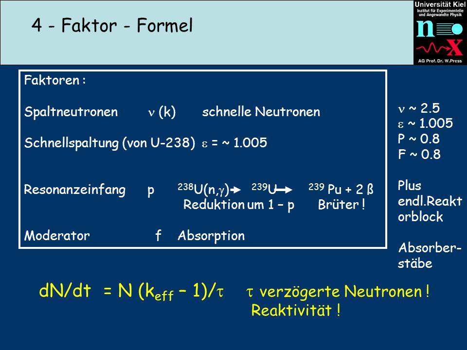 4 - Faktor - Formel Faktoren : Spaltneutronen (k) schnelle Neutronen Schnellspaltung (von U-238) = ~ 1.005 Resonanzeinfang p 238 U(n, ) 239 U 239 Pu +