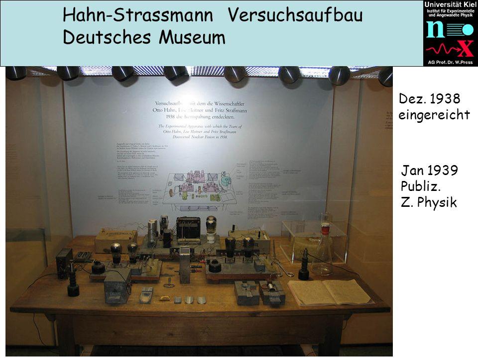 Hahn-Strassmann Versuchsaufbau Deutsches Museum Dez. 1938 eingereicht Jan 1939 Publiz. Z. Physik