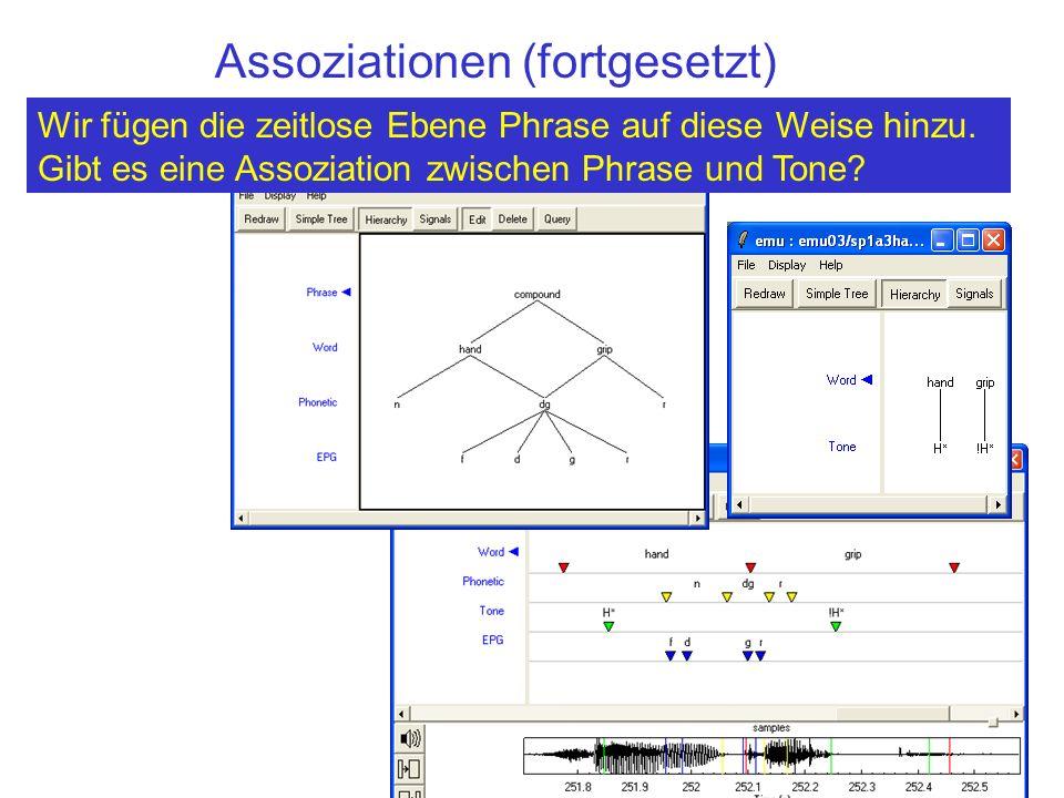 Äußerung (-) Syntax (-) Intonation (E) Wort (-) Morphem (-) Silbe(-)Tone(E) Phonem (-) Phonetic (S) EPG(E) = Type (-) = Kategorie (-) Die Beziehung zwischen diesen Ebenen ist: autosegmentell oder hierarchisch oder linear oder keine.
