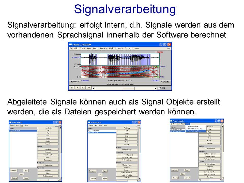 Signalverarbeitung: erfolgt intern, d.h.