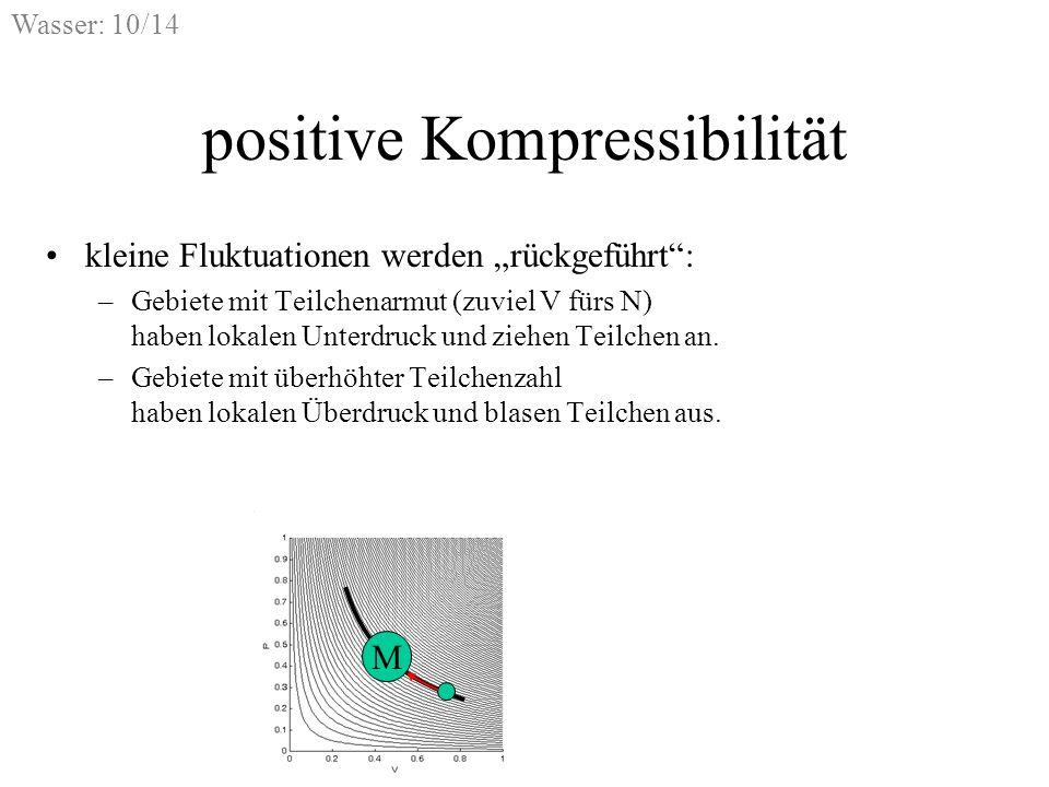 Wasser: 10/14 positive Kompressibilität kleine Fluktuationen werden rückgeführt: –Gebiete mit Teilchenarmut (zuviel V fürs N) haben lokalen Unterdruck