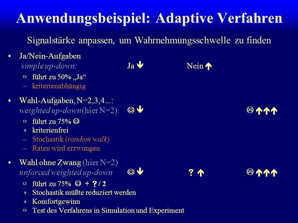 Anwendungsbeispiel: Adaptive Verfahren Signalstärke anpassen, um Wahrnehmungsschwelle zu finden Ja/Nein-Aufgaben simple up-down:Ja Nein führt zu 50% Ja –kriterienabhängig Wahl-Aufgaben, N=2,3,4...: weighted up-down (hier N=2): führt zu 75% kriterienfrei –Stochastik (random walk) –Raten wird erzwungen Wahl ohne Zwang (hier N=2) unforced weighted up-down führt zu 75% + / 2 Stochastik müßte reduziert werden Komfortgewinn Test des Verfahrens in Simulation und Experiment