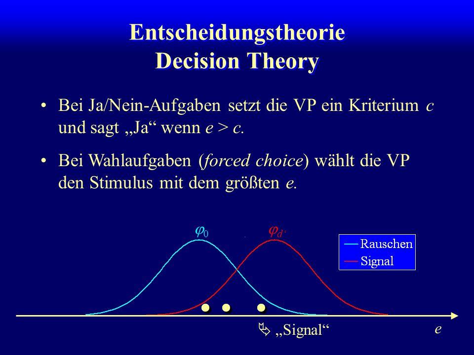 e Entscheidungstheorie Decision Theory Bei Ja/Nein-Aufgaben setzt die VP ein Kriterium c und sagt Ja wenn e > c. Ja Bei Wahlaufgaben (forced choice) w