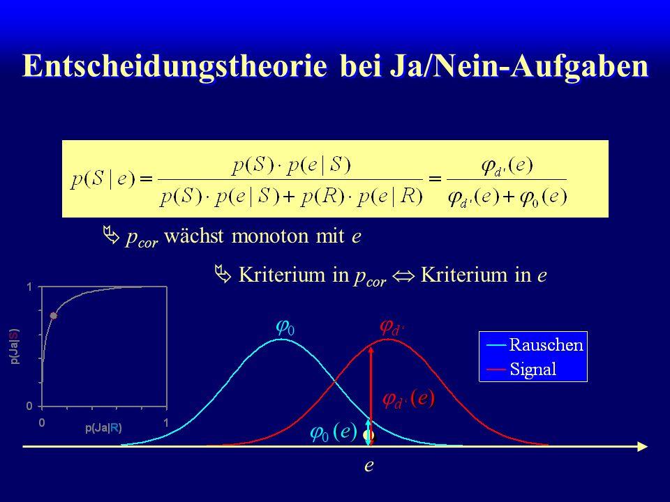 Entscheidungstheorie bei Ja/Nein-Aufgaben e (e) d (e) (e) 0 (e) p cor wächst monoton mit e Kriterium in p cor Kriterium in e d 0