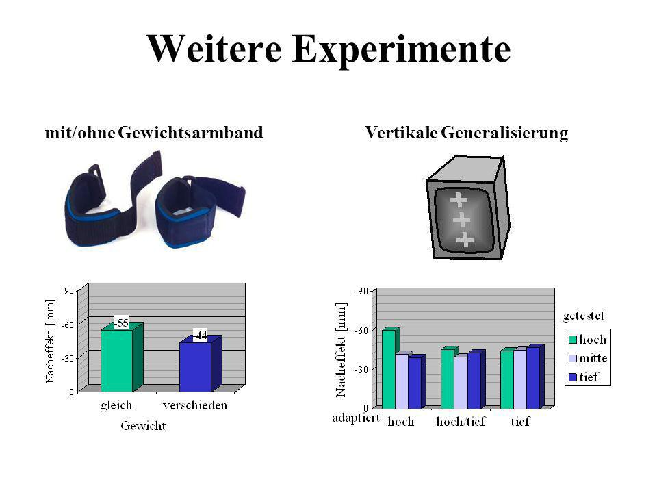 Weitere Experimente mit/ohne GewichtsarmbandVertikale Generalisierung