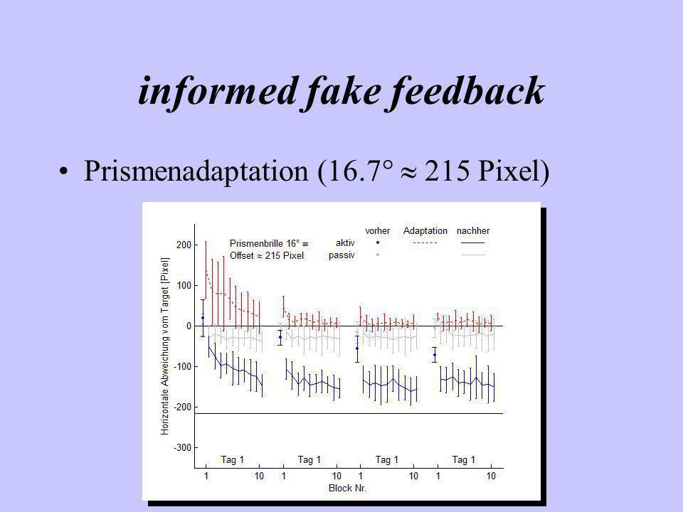 informed fake feedback Prismenadaptation (16.7° 215 Pixel)