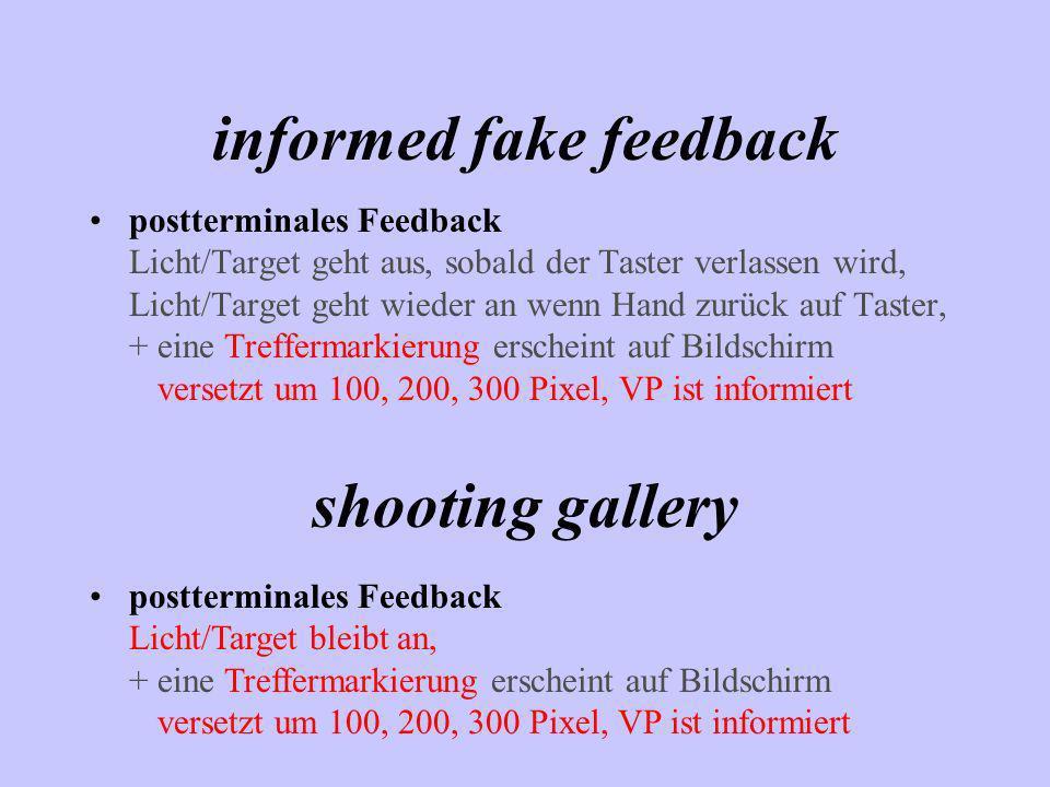 informed fake feedback postterminales Feedback Licht/Target geht aus, sobald der Taster verlassen wird, Licht/Target geht wieder an wenn Hand zurück a