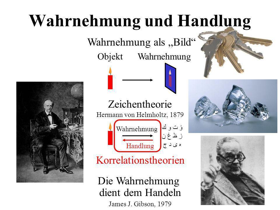 Wahrnehmung und Handlung ObjektWahrnehmung Wahrnehmung als Bild ؤ ت و ك ز ظ غ ن ه ى د ج Zeichentheorie Hermann von Helmholtz, 1879 Wahrnehmung Handlun