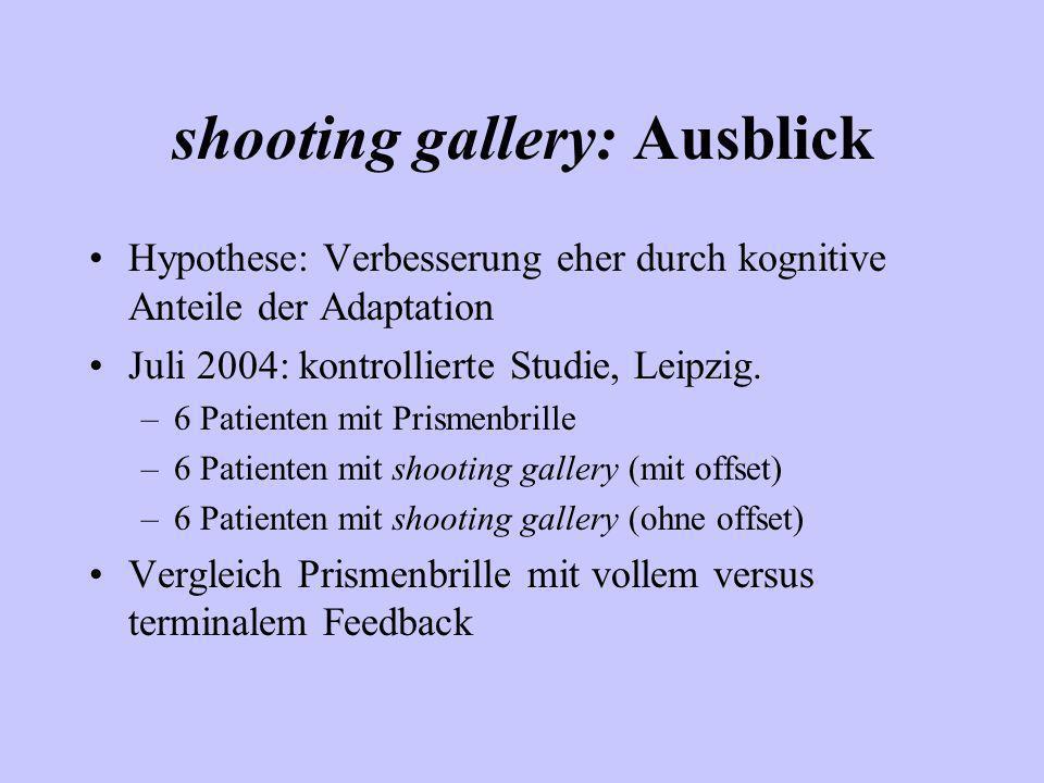 shooting gallery: Ausblick Hypothese: Verbesserung eher durch kognitive Anteile der Adaptation Juli 2004: kontrollierte Studie, Leipzig. –6 Patienten