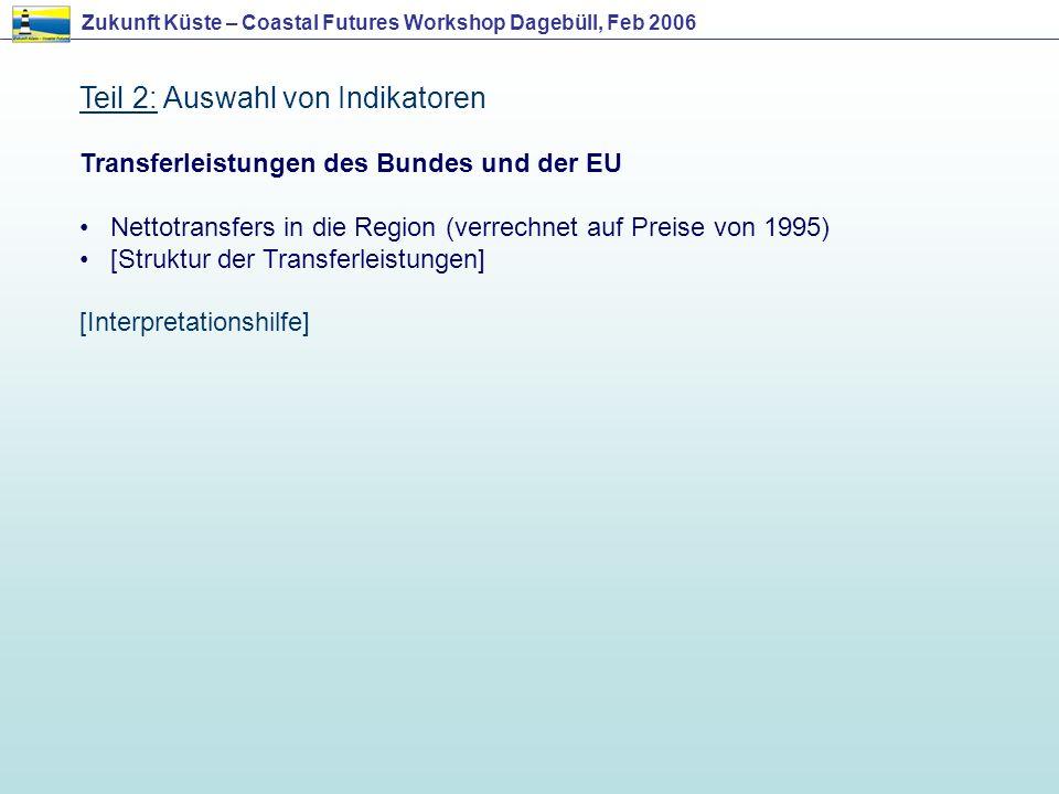 Teil 2: Auswahl von Indikatoren Transferleistungen des Bundes und der EU Nettotransfers in die Region (verrechnet auf Preise von 1995) [Struktur der T