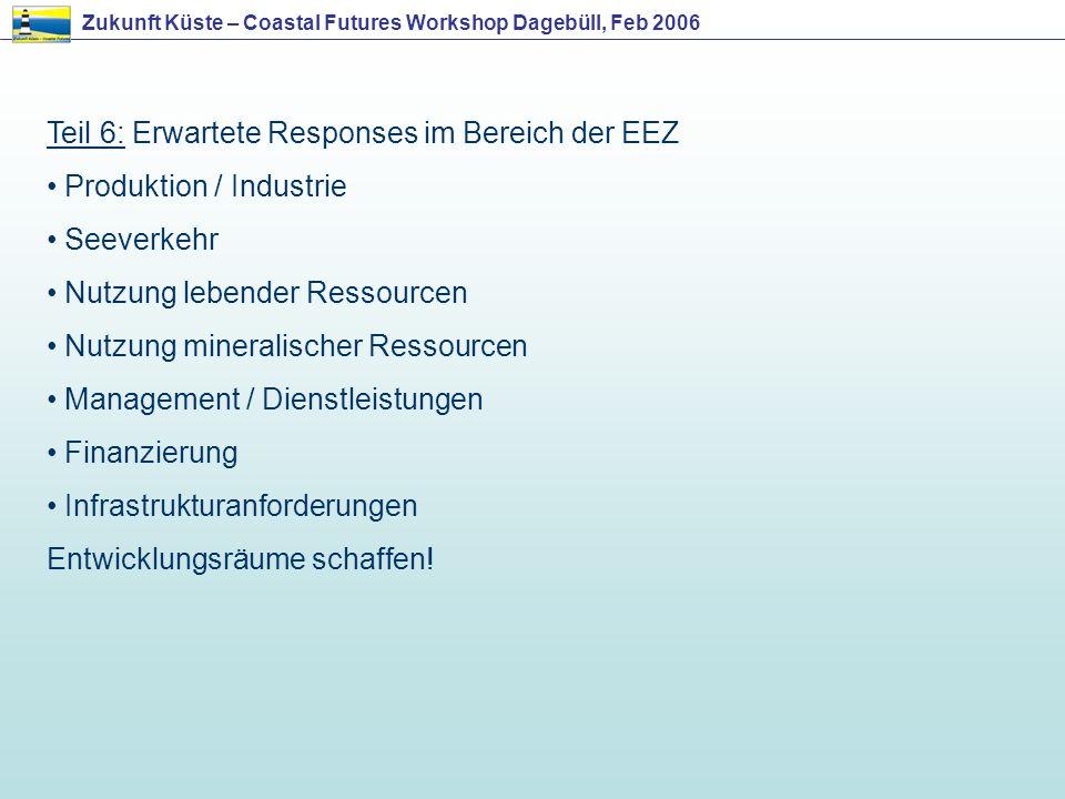 Teil 6: Erwartete Responses im Bereich der EEZ Produktion / Industrie Seeverkehr Nutzung lebender Ressourcen Nutzung mineralischer Ressourcen Manageme