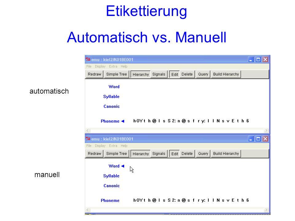 Etikettierung Automatisch vs. Manuell automatisch manuell