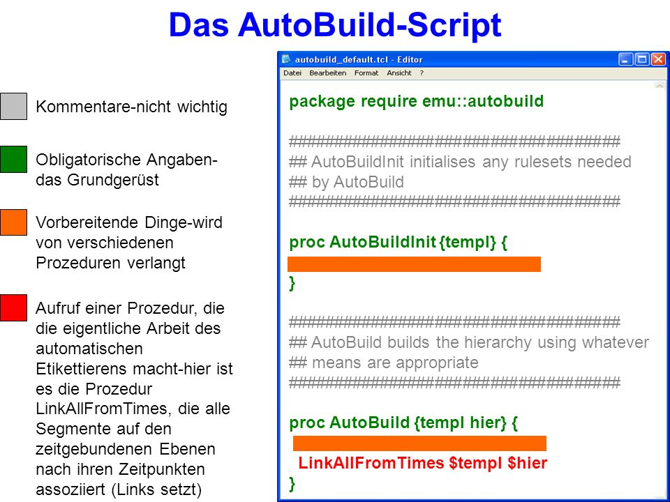 AutoBuild-Scripts enthalten die Zeilen: package require emu::autobuild, ein Paket mit einer Auswahl an Prozeduren proc AutoBuildInit {templ} {…}, hier werden vorbereitend verschiedene Dinge angegeben, die in der eigentlichen AutoBuild Prozedur benötigt werden.