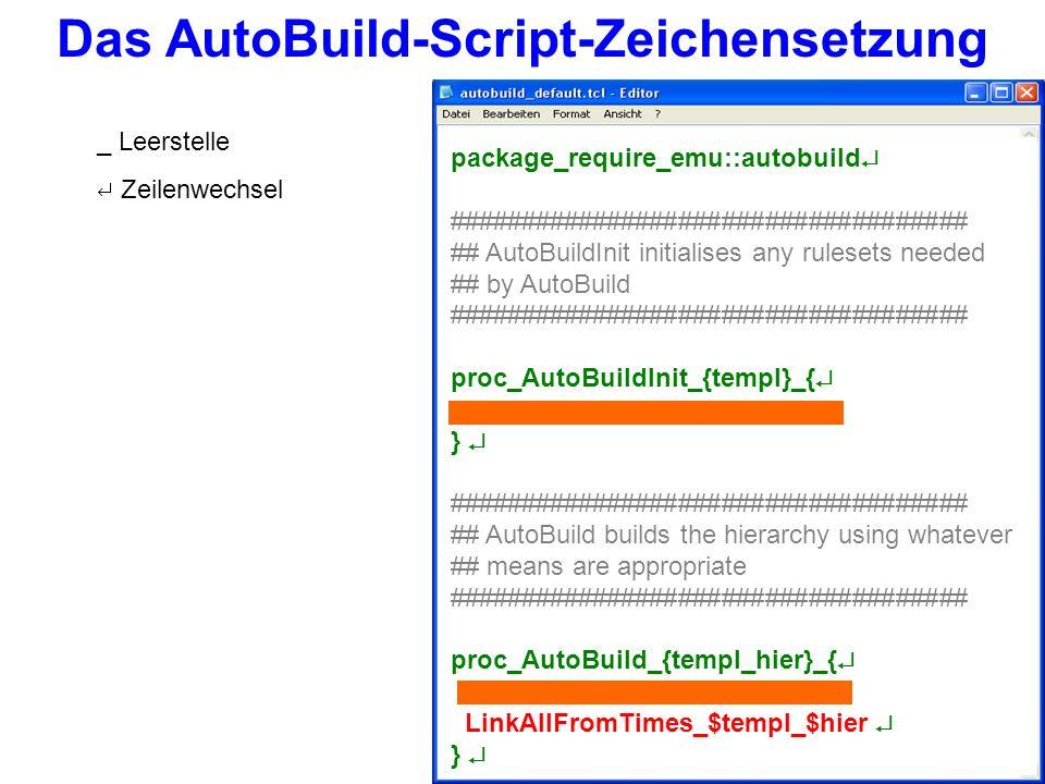 Um ein AutoBuild-Script auf Äußerungen einer Sprachdatenbank anzuwenden, muss der Pfad zum Script in der Template-Datei unter Variables-AutoBuild angegeben werden.