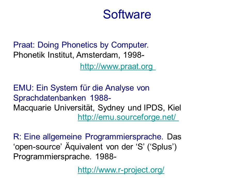 Software Praat: Doing Phonetics by Computer. Phonetik Institut, Amsterdam, 1998- EMU: Ein System für die Analyse von Sprachdatenbanken 1988- Macquarie