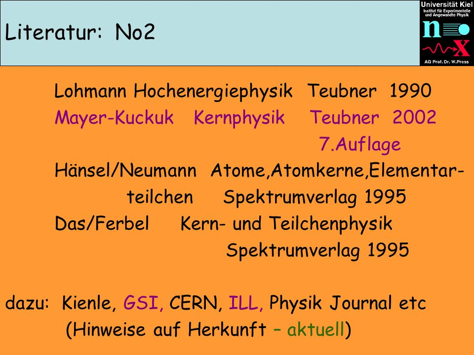Literatur: No2 Lohmann Hochenergiephysik Teubner 1990 Mayer-Kuckuk Kernphysik Teubner 2002 7.Auflage Hänsel/Neumann Atome,Atomkerne,Elementar- teilchen Spektrumverlag 1995 Das/Ferbel Kern- und Teilchenphysik Spektrumverlag 1995 dazu: Kienle, GSI, CERN, ILL, Physik Journal etc (Hinweise auf Herkunft – aktuell)