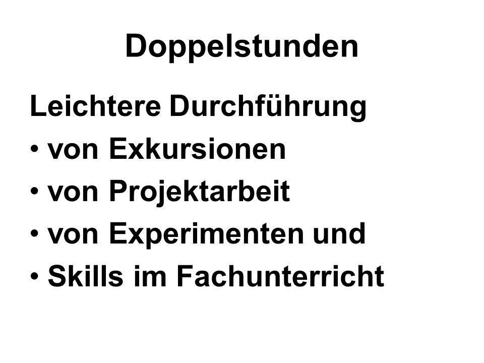 Doppelstunden Leichtere Durchführung von Exkursionen von Projektarbeit von Experimenten und Skills im Fachunterricht