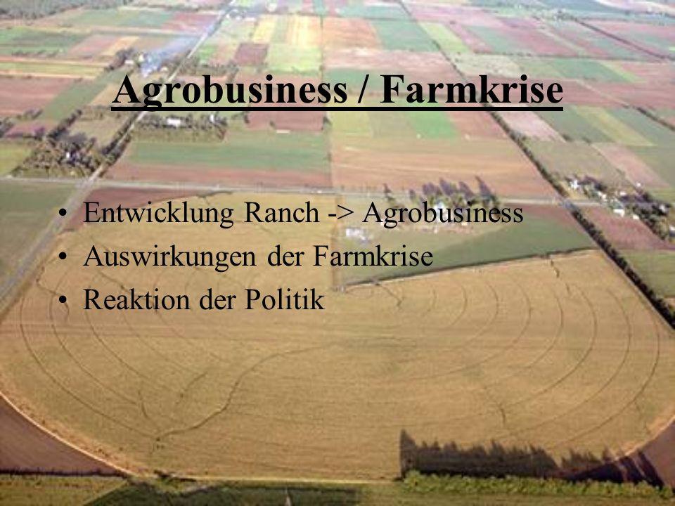 Agrobusiness / Farmkrise Entwicklung Ranch -> Agrobusiness Auswirkungen der Farmkrise Reaktion der Politik