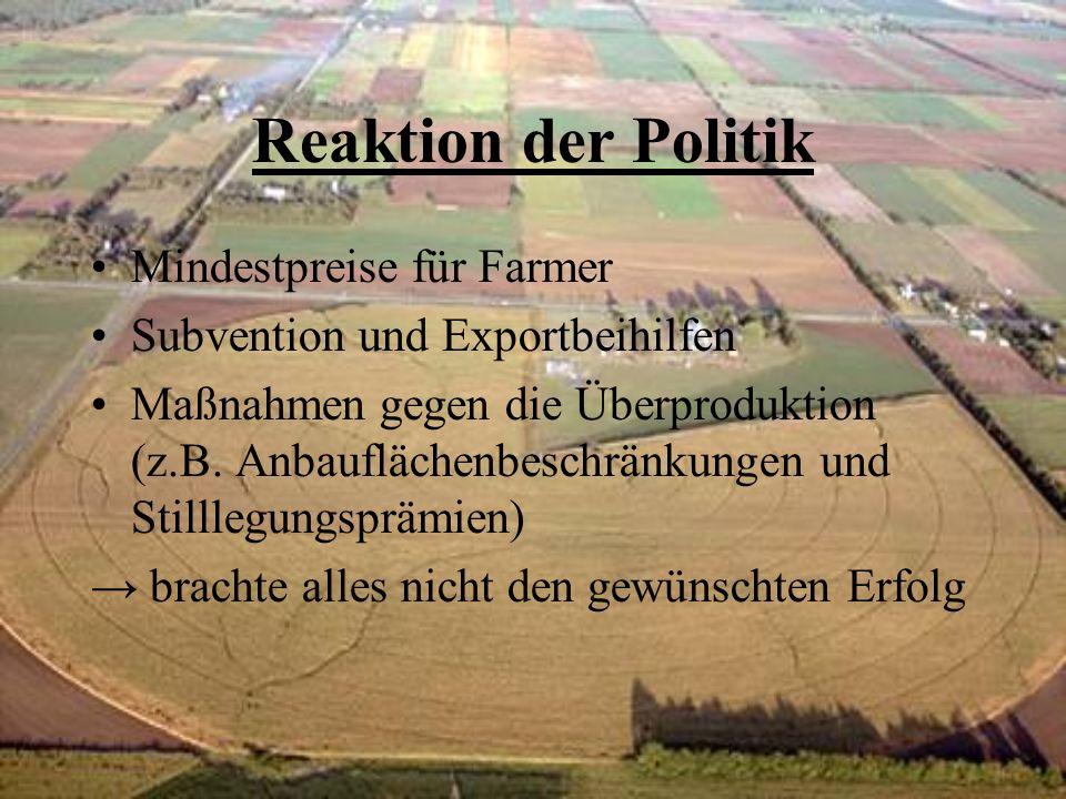 Reaktion der Politik Mindestpreise für Farmer Subvention und Exportbeihilfen Maßnahmen gegen die Überproduktion (z.B. Anbauflächenbeschränkungen und S
