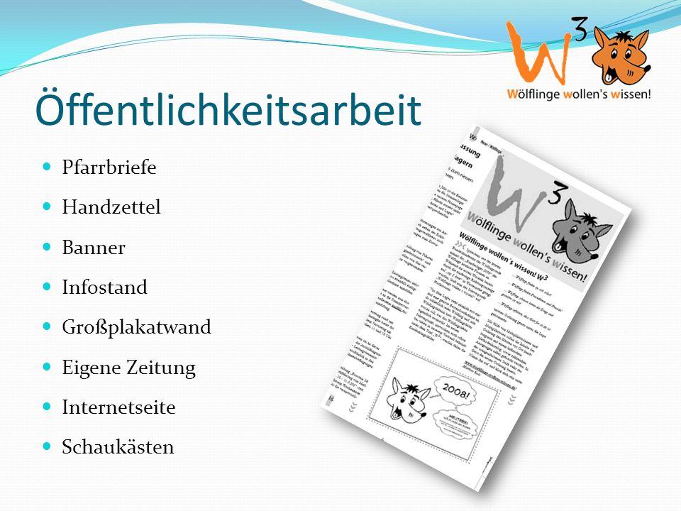 Öffentlichkeitsarbeit Pfarrbriefe Handzettel Banner Infostand Großplakatwand Eigene Zeitung Internetseite Schaukästen
