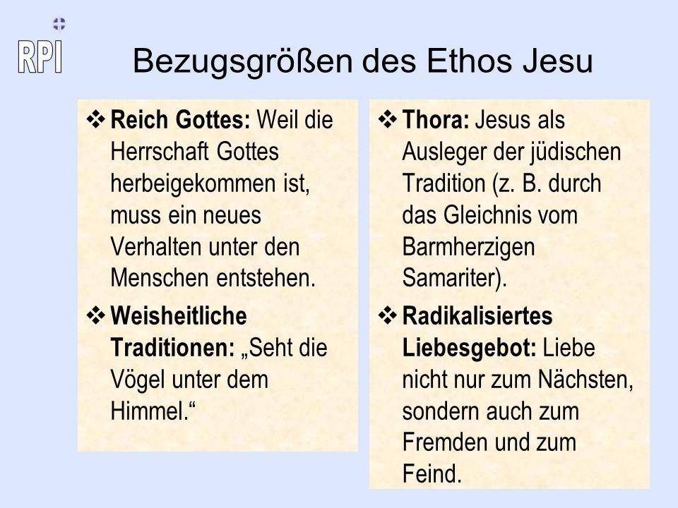 Bezugsgrößen des Ethos Jesu Reich Gottes: Weil die Herrschaft Gottes herbeigekommen ist, muss ein neues Verhalten unter den Menschen entstehen. Weishe