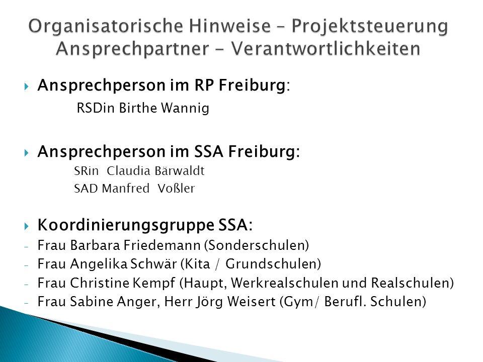 Ansprechperson im RP Freiburg: RSDin Birthe Wannig Ansprechperson im SSA Freiburg: SRin Claudia Bärwaldt SAD Manfred Voßler Koordinierungsgruppe SSA: