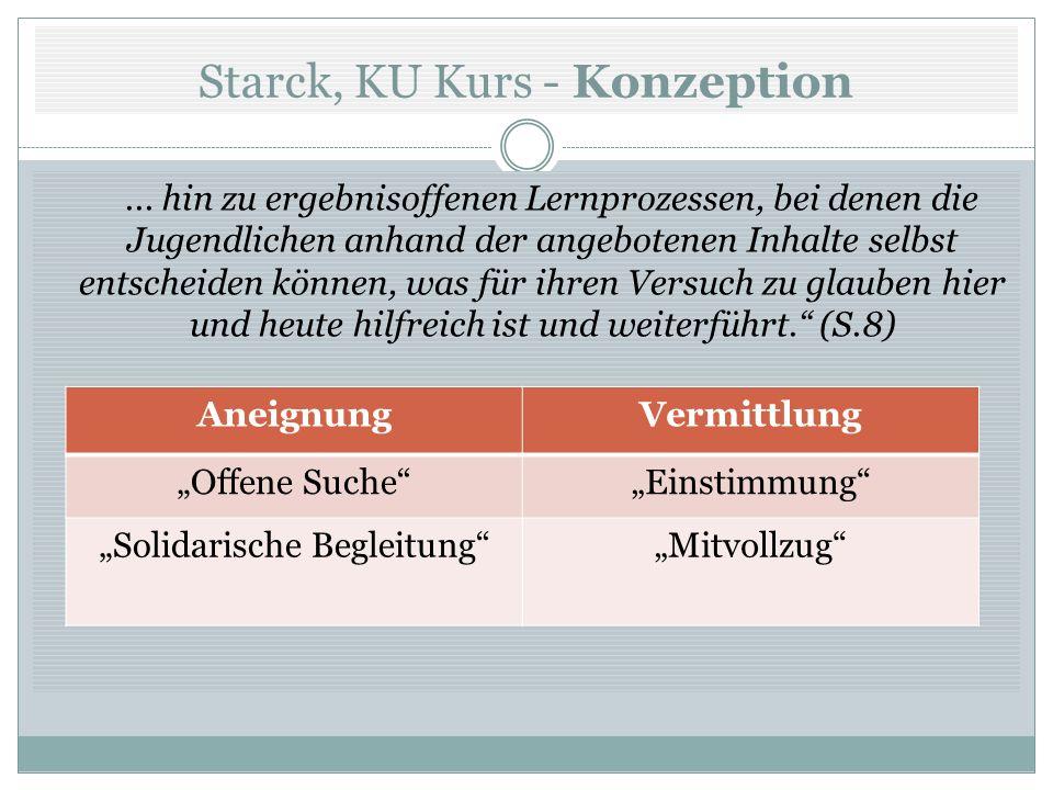 Starck, KU Kurs - Konzeption... hin zu ergebnisoffenen Lernprozessen, bei denen die Jugendlichen anhand der angebotenen Inhalte selbst entscheiden kön