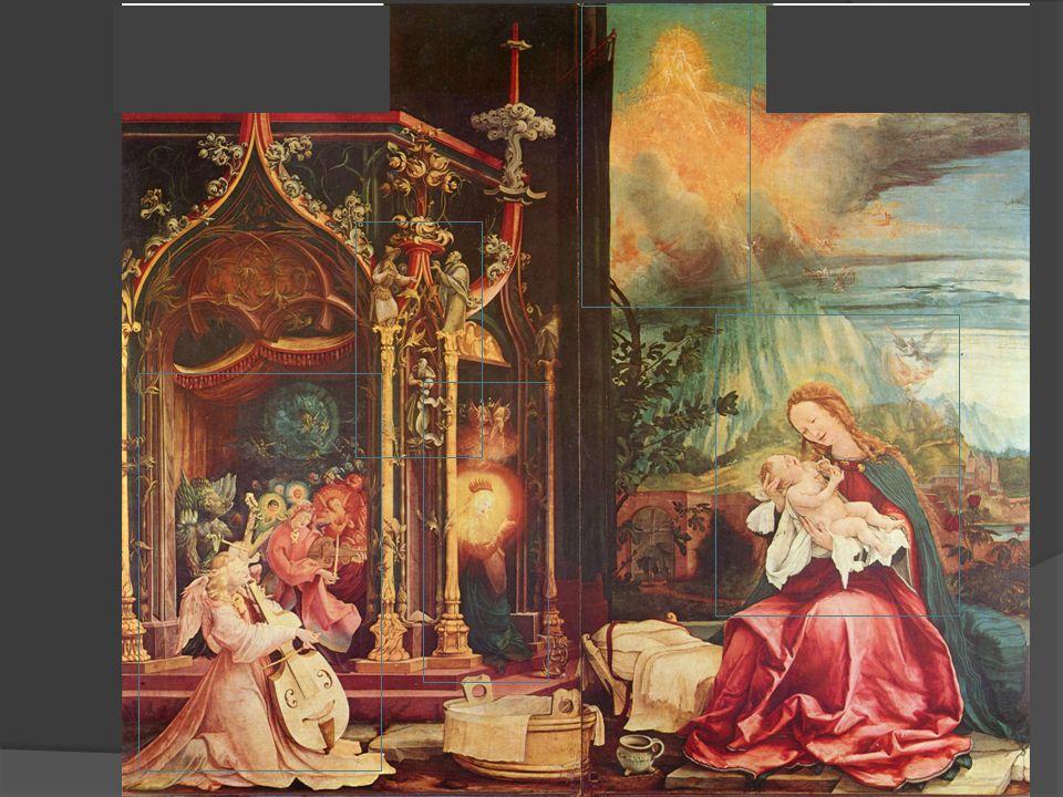 1.Maria und das Kind -Innige Beziehung = Auge in Auge -Blauer / roter Mantel = wahrer Gott / wahrer Mensch -Windel als Fetzen = Armut, Niedrigkeit Jesu - Engel steigen auf und nieder = Jakobsleiter, himmlische Heerscharen