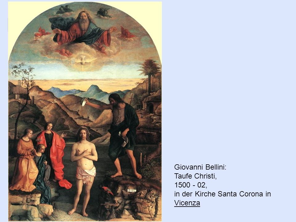 Giovanni Bellini: Taufe Christi, 1500 - 02, in der Kirche Santa Corona in Vicenza Vicenza