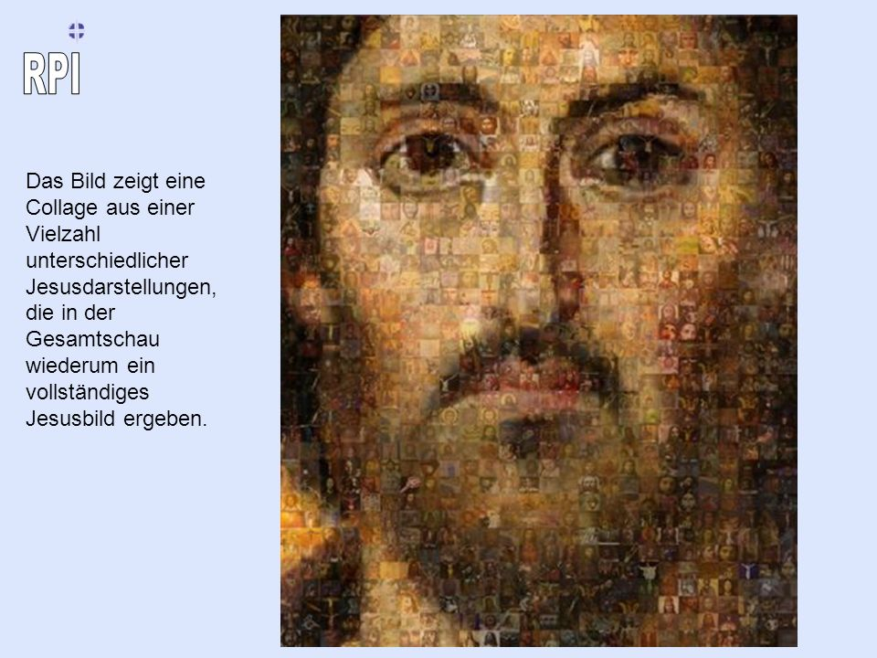 Das Bild zeigt eine Collage aus einer Vielzahl unterschiedlicher Jesusdarstellungen, die in der Gesamtschau wiederum ein vollständiges Jesusbild ergeb