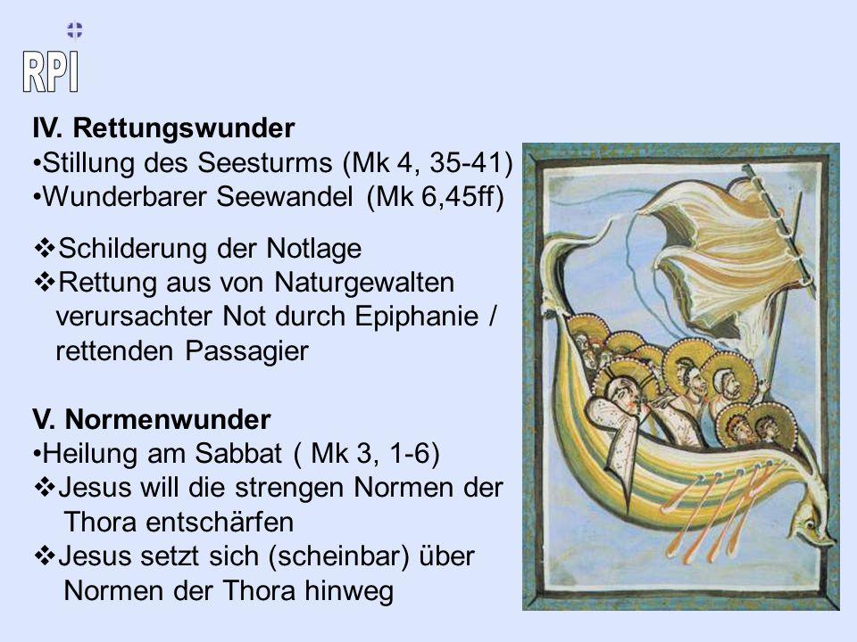 IV. Rettungswunder Stillung des Seesturms (Mk 4, 35-41) Wunderbarer Seewandel (Mk 6,45ff) Schilderung der Notlage Rettung aus von Naturgewalten verurs